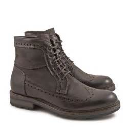 handmade wingtip boots for in chocolate calf leather