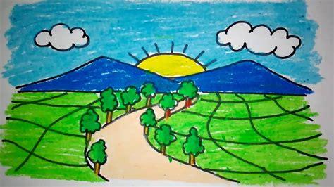 menggambar pemandangan gunung  anak tk  sd