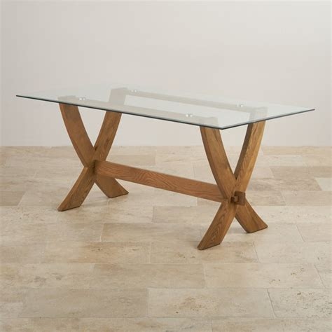 Crossed Leg Dining Table Reflection Glass Top Dining Table With Solid Oak Crossed Legs