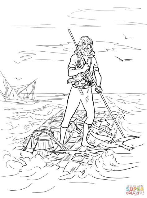 Robinson Crusoe op een vlot na schipbreuk kleurplaat