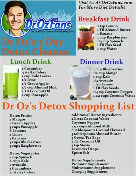 Dr Oz Shakes Detox by Dr Oz 3 Day Detox Cleanse Shopping List Drink Recipes