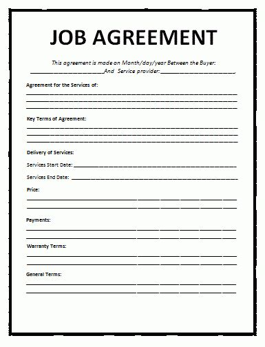 Job Agreement Template Free Word Templates Employment Contract Template Word