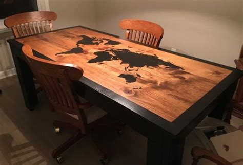 world dining room tables imgur user builds world map dining table using wood burning tool