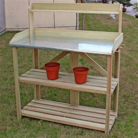 gardening work benches costway outdoor garden wooden potting work bench station planting workbench w 3 shelf