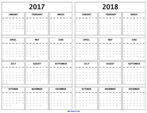 printable calendar for 2017 and 2018 free 2017 and 2018 calendar printable template in jpg pdf