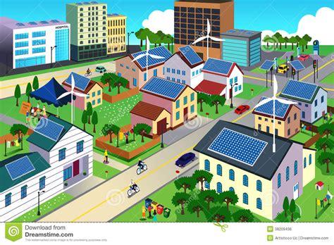 Buying Solar Panels green environment friendly city scene royalty free stock
