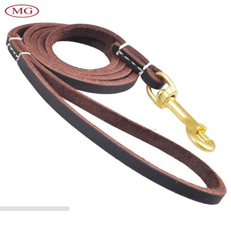 top layer cowhide genuine leather pet leashes medium large lead leash for outdoor