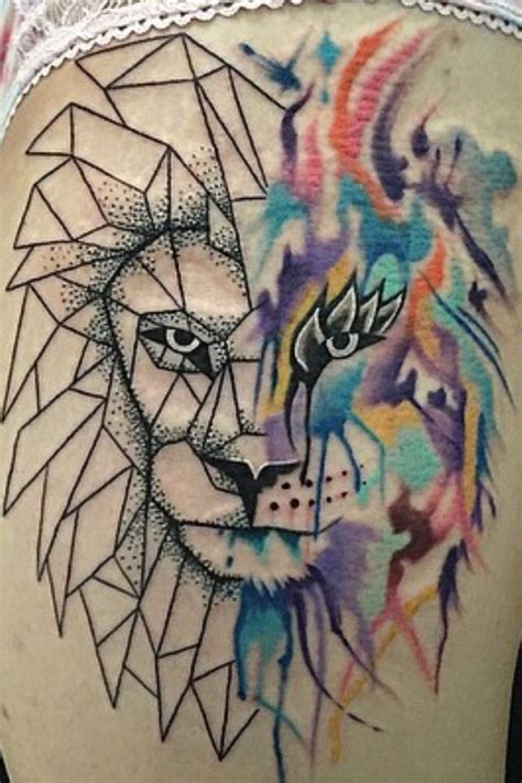 geometric tattoo artist near me abstract geometric lion tattoo by man yelp