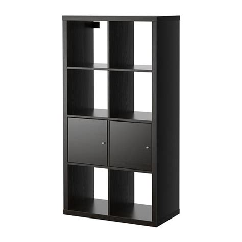 etagere ikea kallax shelving unit with doors black brown 30 3 8x57 7