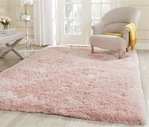 Living Room Safavieh Hand Tufted Pink Polyster Shag Area Shaggy Rugs For Room