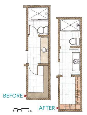 narrow bathroom floor plans i like the narrow bathroom to save space move closet into front of sink area connecting