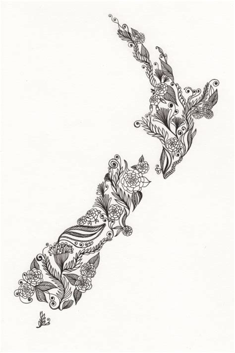 watercolor tattoo new zealand new zealand patterned drawing 8x10 quot print unframed