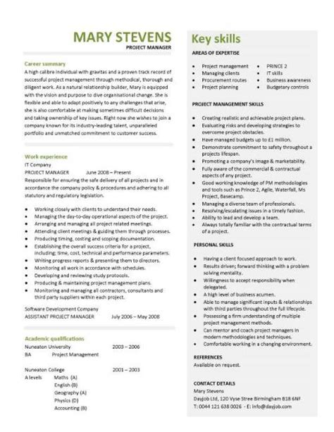 Project manager CV template, construction project