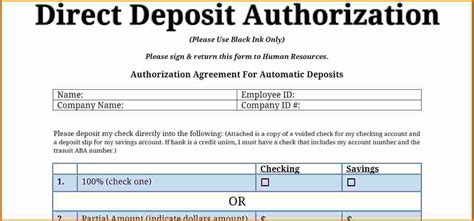 authorization letter to deposit by third 8 direct deposit authorization form authorization letter