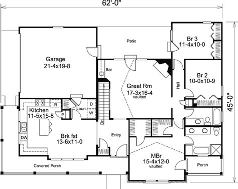 ranch bungalow floor plans house plan 87811 at familyhomeplans com