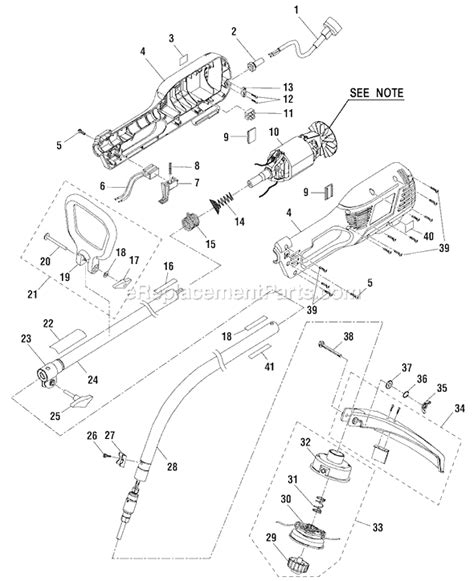 ryobi string trimmer parts diagram ryobi ry41002 parts list and diagram ereplacementparts