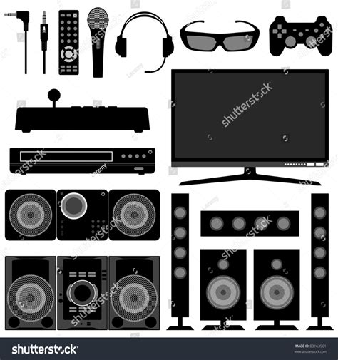 living room appliances audio visual system electronic electrical appliances stock illustration 83163961 shutterstock