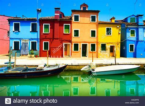 colorful houses venice landmark burano island canal colorful houses and