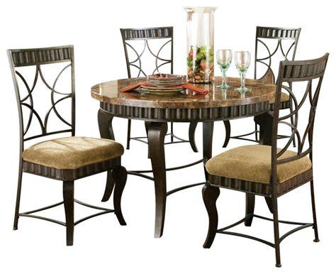 Hamlyn Dining Room Set by Steve Silver Hamlyn 5 Piece Marble Top 44 Inch Round