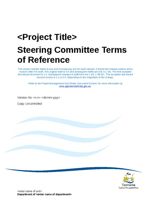 steering committee terms of reference template and guide