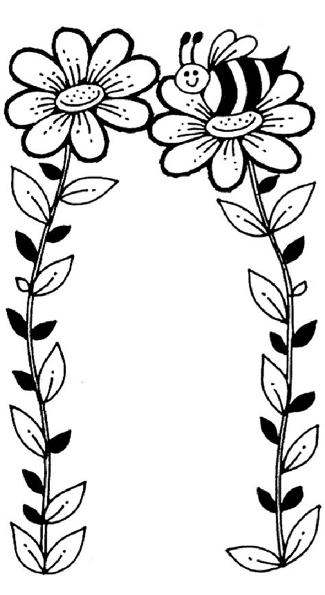 coloring pages bees flowers bee and flower coloring page