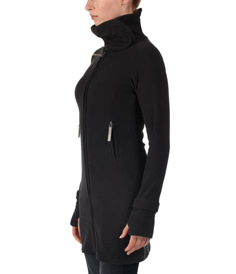 long bench jacket bench long neck zip up fleece jacket in black lyst