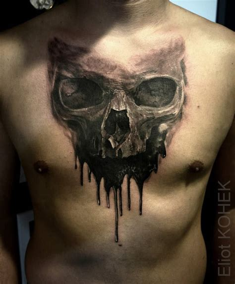 three skull tattoo designs melting 3d skull on chest