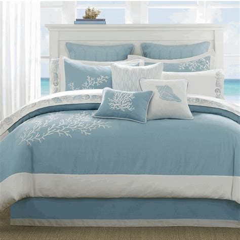 blue coastal coral comforter set