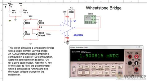 wheatstone bridge simulator wheatstone bridge with high accuracy instrumentation lifier youspice