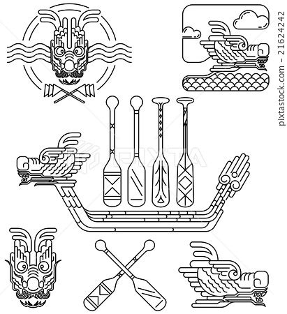 dragon boat drawing dragon icon line drawing for chinese dragon boat stock