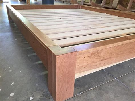 profile platform bed  cherry simple bed frame