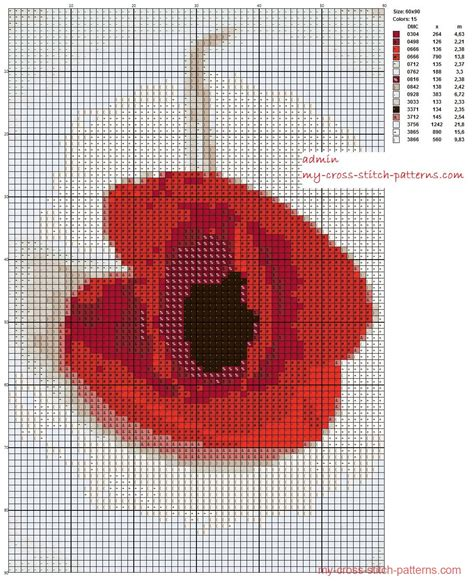embroidery pattern maker free red simple poppy inverted 60x90 15 threads dmc scheme