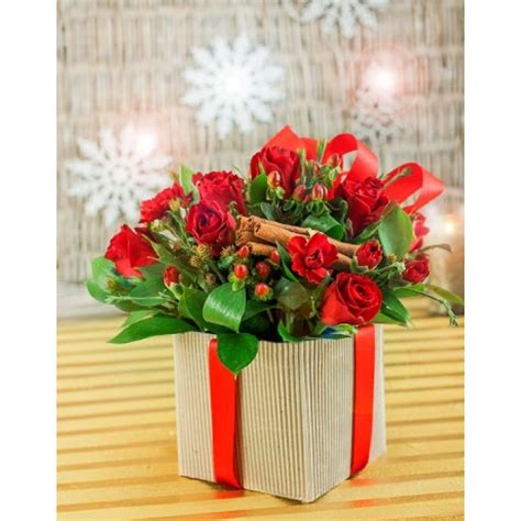 christmas flower gift box red rose xmas arrangement