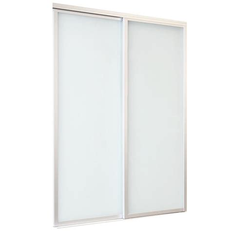 Glass Sliding Closet Door Shop Reliabilt 9800 Series Boston By Pass Door Frosted Glass Glass Sliding Closet Interior Door