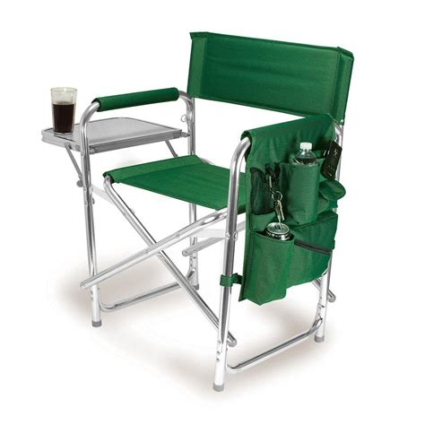 shop picnic time green aluminum folding cing chair at