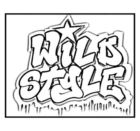 awesome graffiti coloring pages logo from the movie quot wild style quot hip hop coloring book