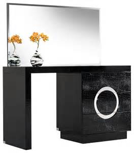 Modern Vanities A Amp X Ovidius Modern Black Crocodile Vanity Table Amp Mirror