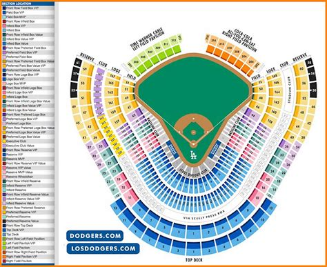 10 dodger stadium seating chart with seat numbers
