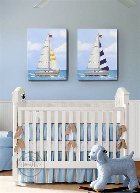 Nautical Decor Nursery Nursery Baby Nursery Room Decor Nautical Sailboat Nursery Canvas Set Nautical Set Of