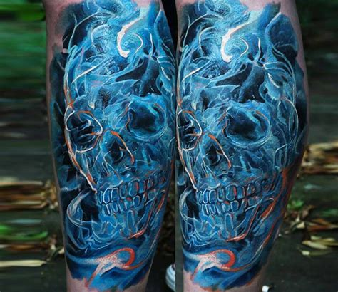 Leg Colorful colorful mystical looking leg of smoke like skull