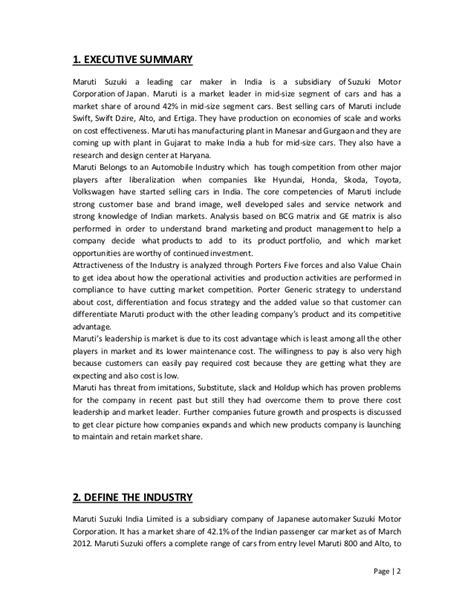 Project On Maruti Suzuki Business Policy And Strategic Management Of Maruti Suzuki