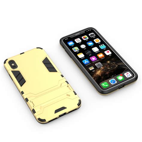 pc tpu shockproof protective with holder for iphone xs max yellow alexnld