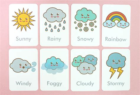 printable free cards free printable weather flash cards