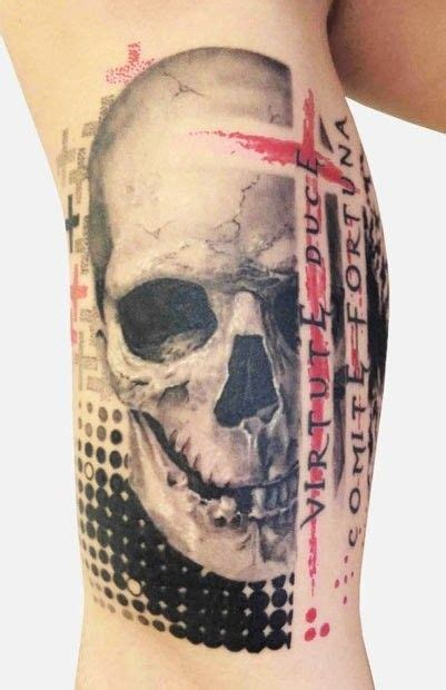 colored trash polka style forearm of seductive neu style skull trash polka tattoos mods