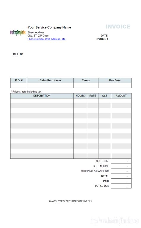hourly service invoice template invoice template for hours worked free