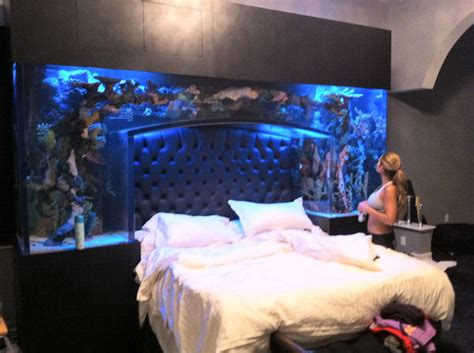 bed aquarium headboard chad ochocinco sleeps underneath a whole bunch of fish