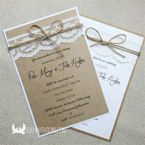rustic twine wedding invitations lace wedding invitations free shipping