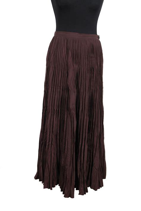 issey miyake brown silk blend fabric pleated maxi skirt