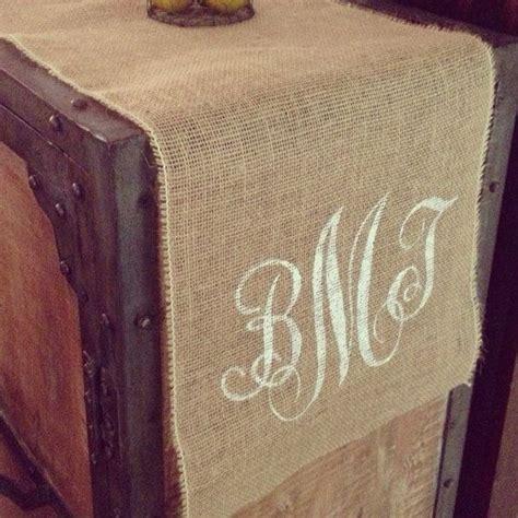 custom burlap table runner monogram table by