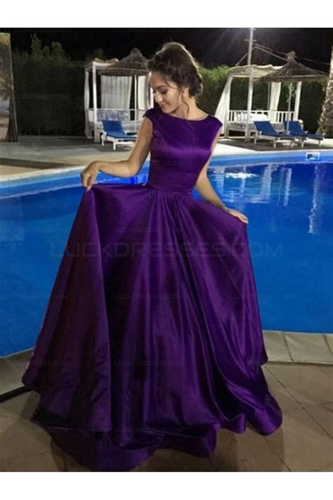 elegant ball gown prom dresses satin evening party gowns